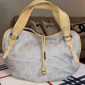 Celine croc embossed handle trimmed bag